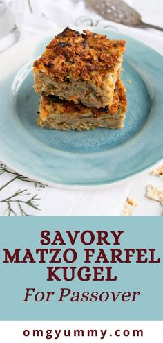Savory matzo farfel kugel is a perfect choice for your seder or Passover meal. Lightened up but full of oniony, herby flavor, you'll love this side dish! Easy Passover Recipe, Passover Recipes, Kosher Recipes, Cooking Recipes, Meal Recipes, Potato Kugel, Seder Meal, Matzo Meal