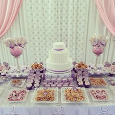 Curtains in the background Candy Table, Candy Buffet, Dessert Buffet, Dessert Tables, First Communion Decorations, Baptism Party, First Holy Communion, Party Planning, Wedding Inspiration