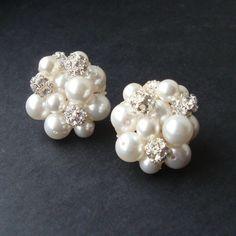 Vintage Retro Style Pearl Cluster Bridal Earrings by luxedeluxe, $78.00