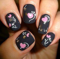 Black..Pink Hearts Valentine Nails ❤