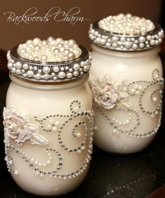 Mason Jar Crafts | Mason Jar Bling! | Crafts. Could be cute centerpieces with off white flowers: