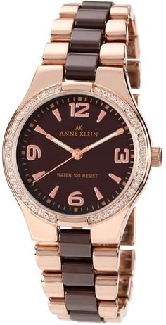 Anne Klein Pink Womens Rose Gold Tone and Brown Ceramic Watch
