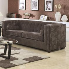 $520  Coaster Alexis Transitional Chesterfield Sofa in Charcoal
