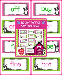 My Boston Terrier sight word wall posters feature Fry's third 100 words. 55 pages of sight words accented with bright colors and sweet Boston Terrier puppy graphics!  #mca3designs #tpt #teacherspayteachers #iteachtoo #sightwords #wordwall #words #phonics #ela
