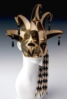 Piebald Jester three quarter mask by TheArtOfTheMask on Etsy, $245.00