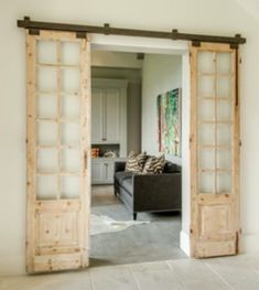 Installing interior barn door hardware can transform the look of your room. Read these steps in buying interior barn door hardware. Casa Magnolia, Interior Barn Doors, Wood Doors, Salvaged Doors, Windows And Doors, French Doors, House Plans, New Homes, House Design