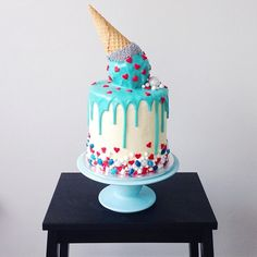 Cake with upside down ice cream cone