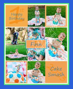 First birthday cake smash Storyboard Naturally Bee-utiful Photography  Giggle and hoot orange and blue Cake smash.