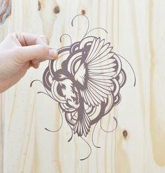 bird in flight . original papercut . 11x14 by birdmafia on Etsy, $80.00
