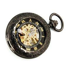 Yesurprise-Gran Reloj De Bolsillo Analógico Mecánico de Cuerda Manual F085 Estilo Clásico y Color Bronce Negro