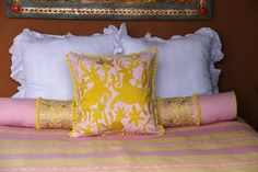 """Bright Yellow on pink ginham hand embroidered Otomi Sham Scarlett """"O"""" – Casa Otomi Mexico, Tenango, wedding, textile, mexican suzani, embroidery, hand embroidered, otomi, fiber art, mexican, handmade,  casa, decor, interior, frida, kahlo, folk,  folk art, house, home, puebla, las flores, cushion, serape, preppy, gingham, polka dots, pink, lime, green, lily pulitizer, pouf, elle decor, boho, style, bestey johnson, lily pultizer, interior, stripes, southern living, southern style,"""