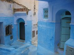 Blue streets of Chauen, Morocco Cycling