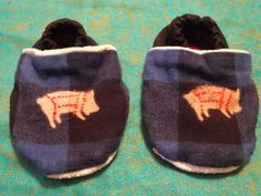 Blue Buffalo Plaid Foodie Booties Pig Butchering Chart Baby Booties 12 to 18 months Wide Foot Fit Light Weight Fabric by BettieJune on Etsy