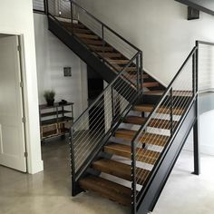 Simplistic yet Stunning. Wood Stair Treads, Stair Railing Design, Metal Stairs, Railings, Contemporary Stairs, Modern Stairs, Industrial Stairs, Stairs Architecture, Craftsman Kitchen