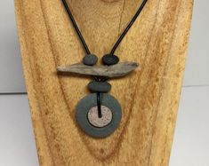 Rock Driftwood Leather Necklace