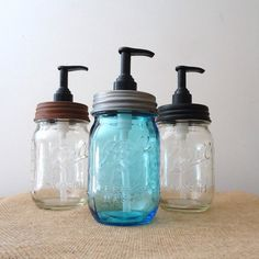 Love this idea!   mason jar, Soap pump, mason jar, vintage kitchen, laundry room decor
