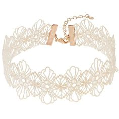 LC Lauren Conrad Floral Lace Choker Necklace ($8.40) ❤ liked on Polyvore featuring jewelry, necklaces, natural, clasp necklace, lace choker, lace necklace, gold colored necklace and lace jewelry