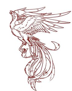 Amazing Girly Phoenix Outline Tattoo Stencil