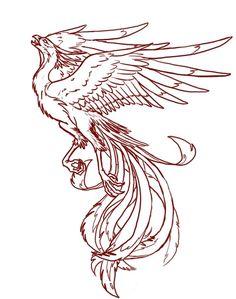 Amazing Girly Phoenix Outline Tattoo Stencil