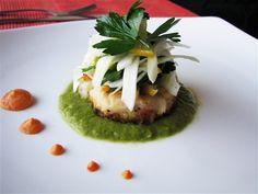 White Bean and Garlic Confit Fritter - Asparagus and Cippolini Onion Puree, Lemon Fennel Salad, Sundried Tomato Aioli - Vegan