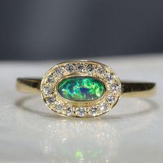 Natural Australian Boulder Opal and Diamond 18k Gold Ring - Size 6.5 Code -GR02008 Green Opal, Australian Opal, Opal Jewelry, Bouldering, Natural Diamonds, 18k Gold, Gold Rings, Engagement Rings, Stone