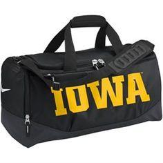 017ed0b776 Nike Iowa Hawkeyes Black Medium Training Duffle Bag Nike Bags