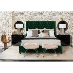Amelia Tall Bed, Vance Emerald - Dream in Green - Bedroom - Room Ideas Small Apartment Bedrooms, Apartment Bedroom Decor, Bedroom Furniture, Bedroom Interiors, Black Furniture, Small Bedrooms, Luxury Furniture, Antique Furniture, Diy Furniture