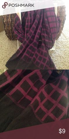 """Black/ purple scarf Checked black and purple cotton blend scarf, 13"""" wide and 72"""" long Accessories Scarves & Wraps"""