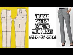 A very detailed video showing step-by-step of how to make a female/women trouser/pant pattern with pockets, zipper fly and band. Slacks For Women, Trousers Women, Pattern Drafting Tutorials, Sewing Pants, Pants Pattern, Sleeve Pattern, Collar Pattern, Trouser Pants, Plaid Pants