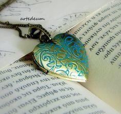 Heart Locket  Necklace Verdigris Necklace Patina Antique Necklace Vintage inspired Locket charm on Etsy, $28.00