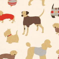 Mans Best Friend Curtain Fabric Cinnamon - Cheap Prices | UK Delivery