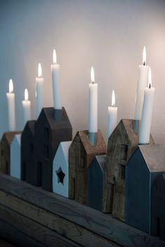 Huisjes als kandelaar - Houses as candle holder #cute