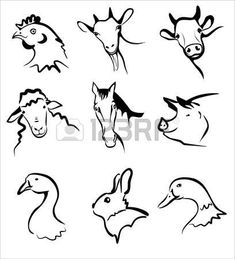 Illustration of farm animals collection of symbols in simple black lines vector art, clipart and stock vectors. Cow Logo, Farm Logo, Brand Identity Design, Branding Design, Logo Design, Corporate Branding, Drawing Now, Line Drawing, Line Illustration