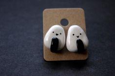 Onigiri Polymer Clay Stud Earrings by Cyclop on Etsy, $16.00