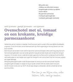Ovenschotel met Ui,tomaat en parmezaan-Pascale Naessens