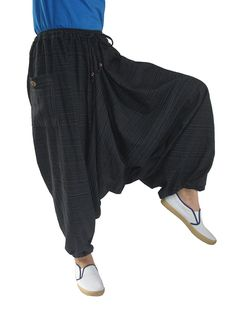 98a6451382 ChiangmaiThaiShop 100% Cotton Baggy Boho Aladin Yoga Harem Pants - Black-a  - CU12IS8K11P