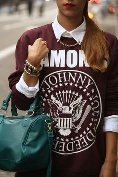 umano Street Style: Love the Ramones. Love the stud accessories. Love this street style.