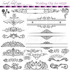 BLACK Digital Clipart Frames wedding clip art  by MSweetboutique, $5.99