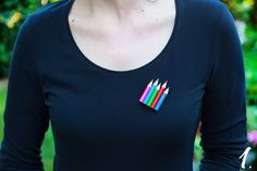 Pencil brooch, Cute colourful brooch, Quirky brooch, Fun brooch, Colourful brooch, Brooch for artist, Wooden brooch