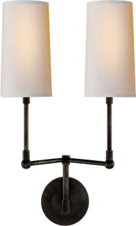 "ziyi two light sconce	  Thomas O'Brien    OVERVIEW  Height: 19""   Width: 10 1/2""   Backplate: 4"" Round  Extension: 8""  Shade Size: 3 1/2"" x 4"" x 7 1/4""  Wattage: 2 - 40 Watt Type B  Socket: Candelabra"