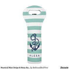 Nautical Mint Stripe & Navy Anchor Personalized Wine Bag #wine