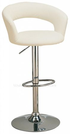 Modern White Adjustable Faux Leather Bar Stool by True Contemporary