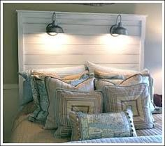 Tall headboard with mounted lights