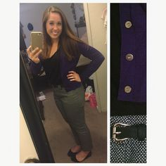 Purple Cardigan : J. Crew  Black Loose Tank : H&M Patterned Capris : Marshall's