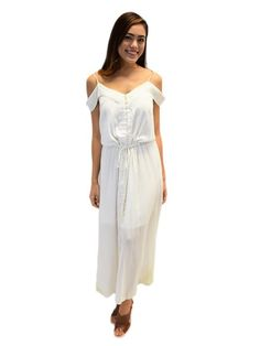 Off-Shoulder with Embroidery White Rayon Lily Long Dress