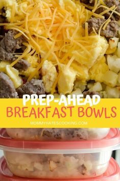 Get ready for a freezer friendly breakfast idea with these Make Ahead Breakfast Bowls! These are perfect to make earlier in the week and save for later to warm up and serve. These combine Potatoes O'Brien, eggs, sausage, and cheese! Healthy Desayunos, Healthy Recipes, Cooking Recipes, Cooking Tips, Cooking Quotes, Cooking Food, Delicious Recipes, Frozen Breakfast, Breakfast Bowls