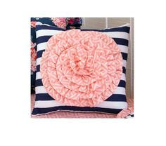 Our Navy Floral design is more popular than ever, and now you can purchase separate accessories for your budget and nursery! Select your rosette pillow here or add it to your order for a gorgeous piece thats beautiful inside and out.  ___________________________  Item Details:  1 Navy stripe pillow with coral geometric rosette flower, including 14 x 14 pillow form insert  ___________________________  *** We professionally produce and finish each handmade Lottie Da Baby design in Columbus…