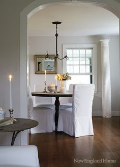 """(10) home of Nancy Ross in Dublin New Hampshire. New England Home. """"Specifically, Ross loves Benjamin Moore's Classic Gray , the color she and Larry chose for the walls."""""""