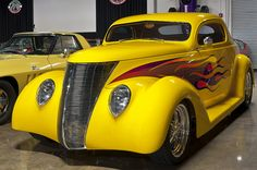 1937 Ford 3-window coupe - customized - yellow, with flames