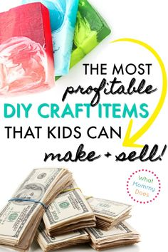 17 Best Things for KIDS to Make and Sell! A great list of things to make and sell at school events or craft fairs& easy ideas anyone can do, from young kids to tweens to teens. Part of a series on ways to make extra money from home. Diy Money Making Crafts, Kids Crafts To Sell, Diy Projects To Sell, Crafts For Kids To Make, Easy Diy Crafts, Diy Crafts For Kids, Craft Ideas, Craft Projects, Kids Diy